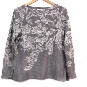 J. JILL PETITE Gray Cream Textured Floral Sweater